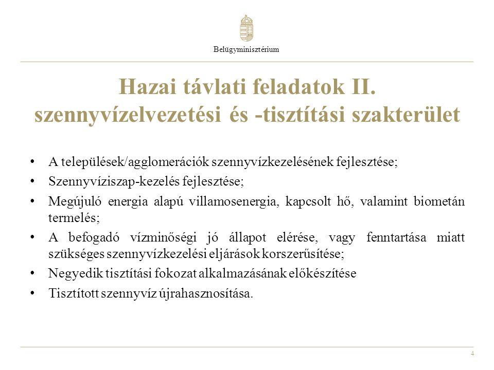 Belügyminisztérium Hazai távlati feladatok II. szennyvízelvezetési és -tisztítási szakterület.