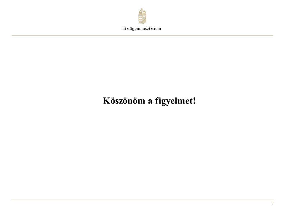 Belügyminisztérium Köszönöm a figyelmet!