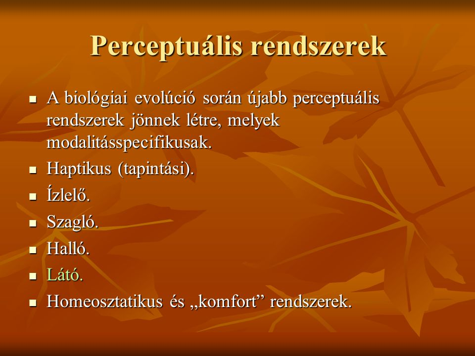 Perceptuális rendszerek