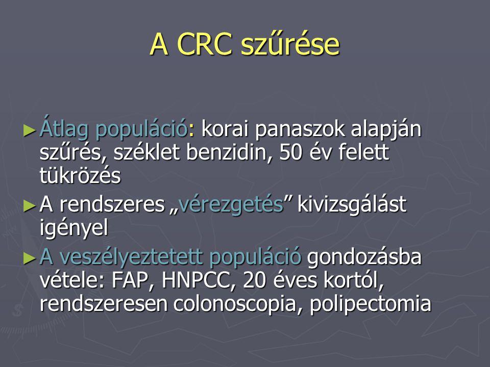 A CRC szűrése Átlag populáció: korai panaszok alapján szűrés, széklet benzidin, 50 év felett tükrözés.