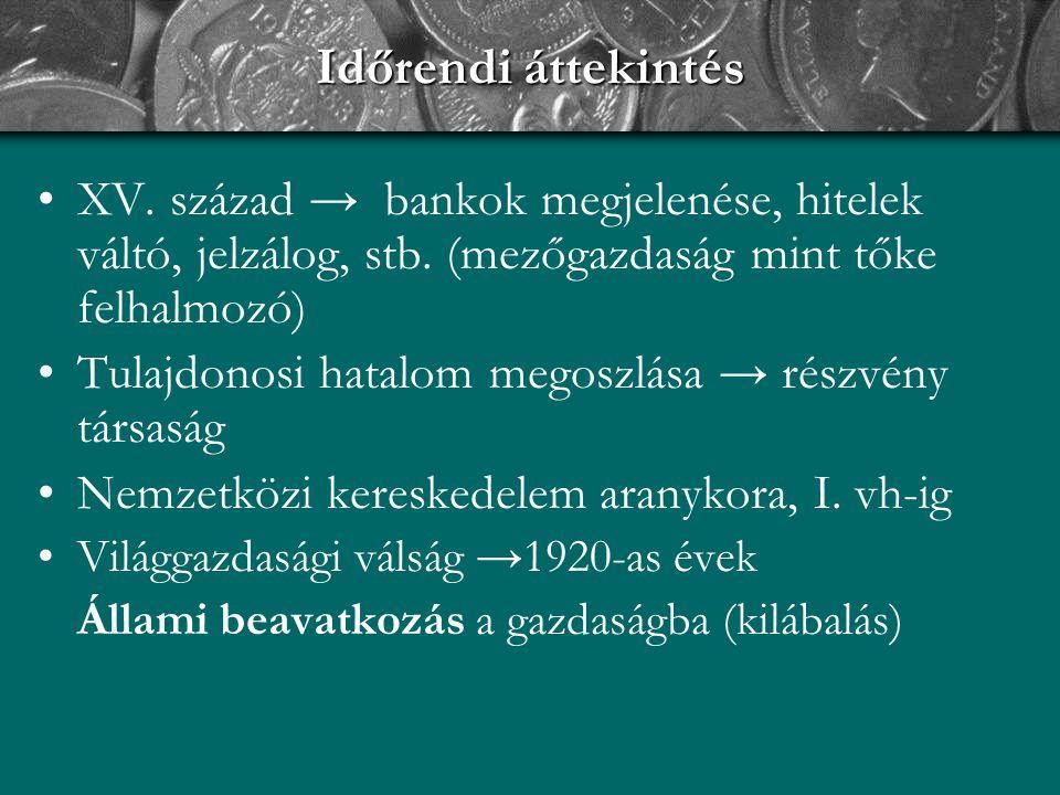 Időrendi áttekintés XV. század → bankok megjelenése, hitelek váltó, jelzálog, stb. (mezőgazdaság mint tőke felhalmozó)