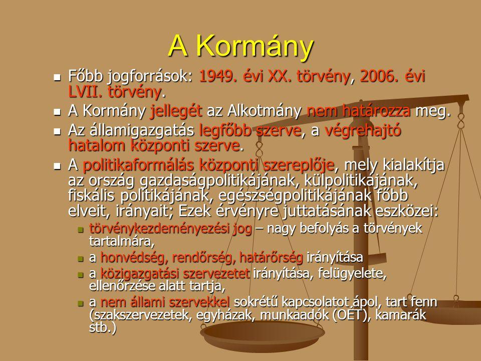 A Kormány Főbb jogforrások: 1949. évi XX. törvény, 2006. évi LVII. törvény. A Kormány jellegét az Alkotmány nem határozza meg.