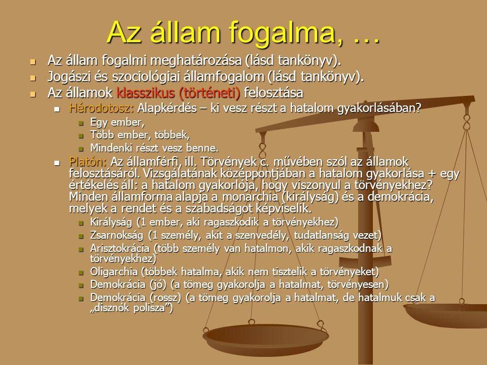 Az állam fogalma, … Az állam fogalmi meghatározása (lásd tankönyv).