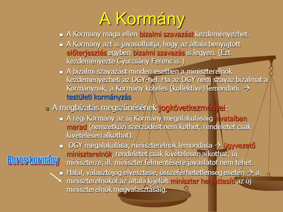 A Kormány A megbízatás megszűnésének jogkövetkezményei: Boros-kormány