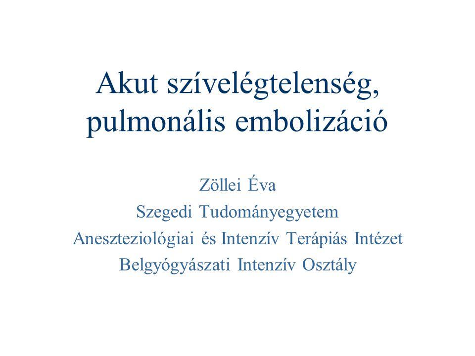 Akut szívelégtelenség, pulmonális embolizáció