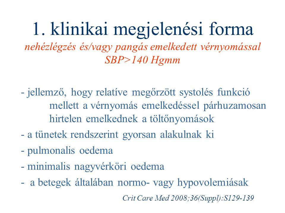 1. klinikai megjelenési forma nehézlégzés és/vagy pangás emelkedett vérnyomással SBP>140 Hgmm