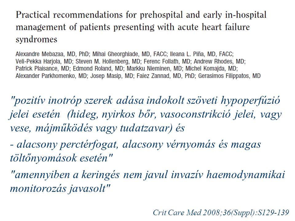 pozitív inotróp szerek adása indokolt szöveti hypoperfúzió jelei esetén (hideg, nyirkos bőr, vasoconstrikció jelei, vagy vese, májműködés vagy tudatzavar) és