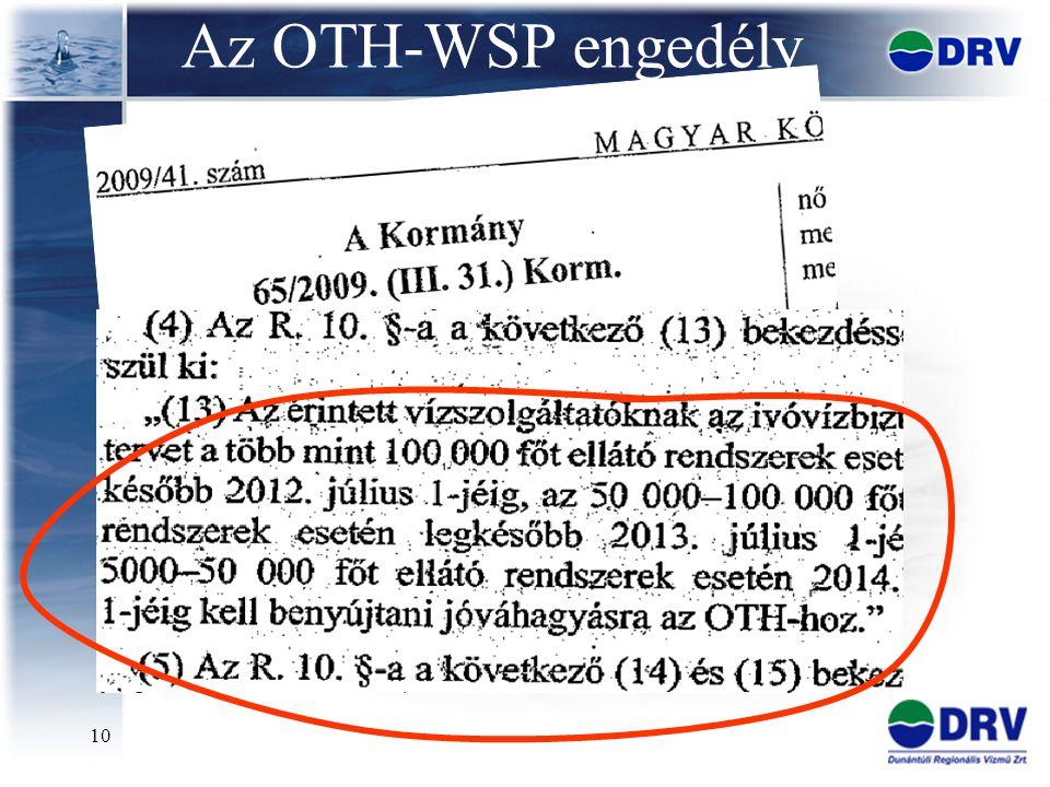 Az OTH-WSP engedély WSP módszertan, rendszerbevezetés