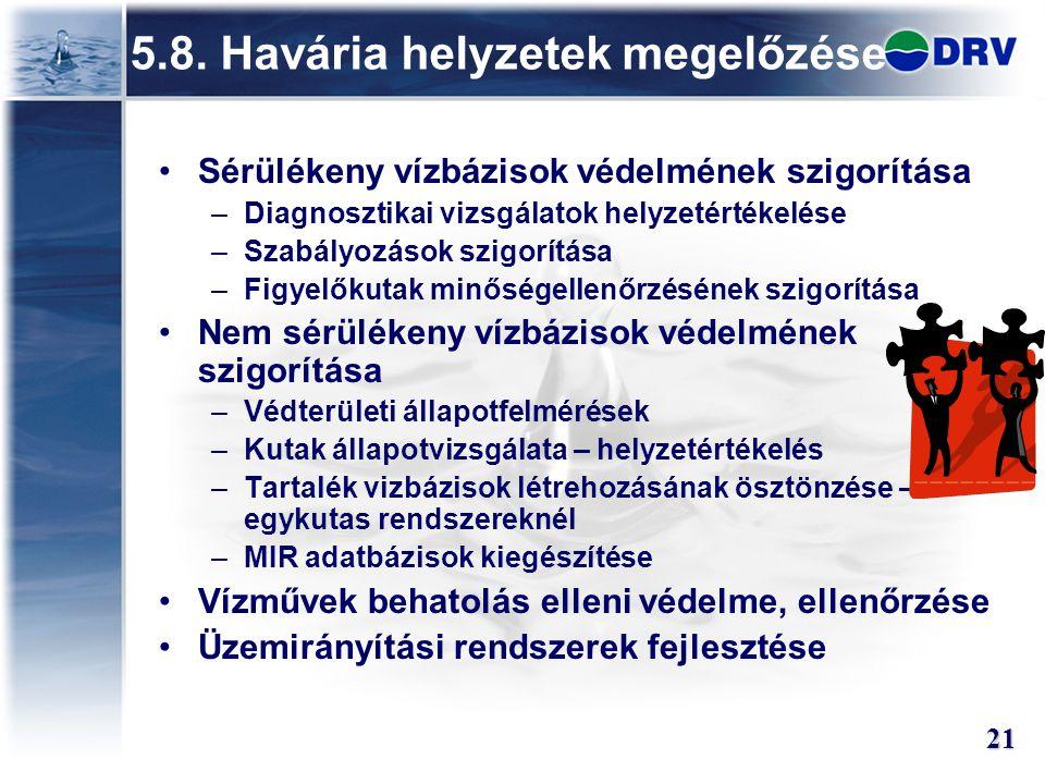 5.8. Havária helyzetek megelőzése
