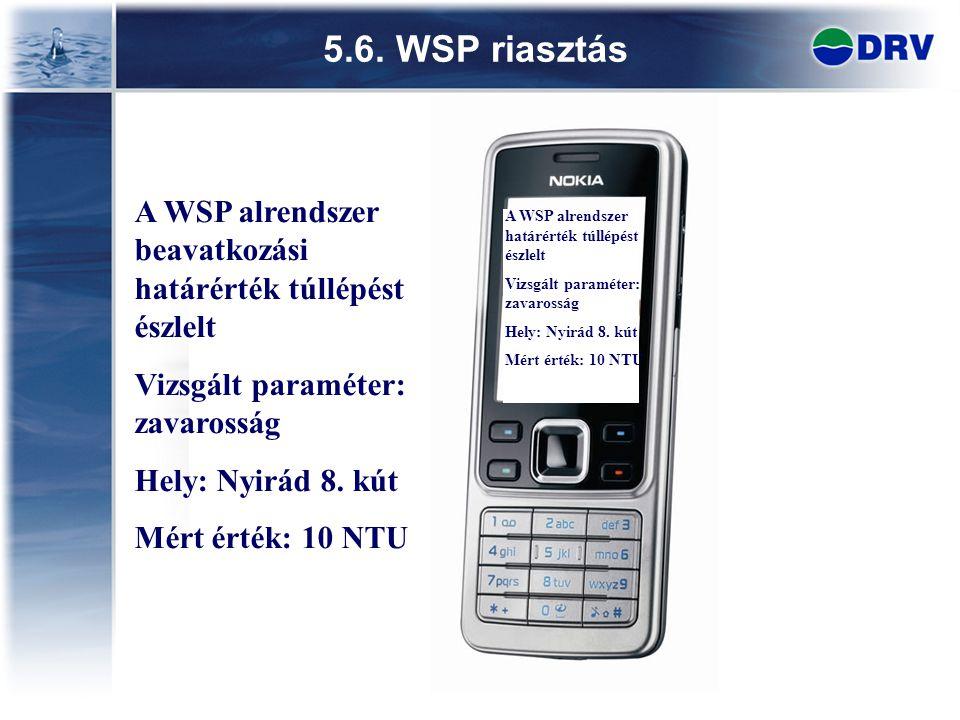 5.6. WSP riasztás A WSP alrendszer beavatkozási határérték túllépést észlelt. Vizsgált paraméter: zavarosság.