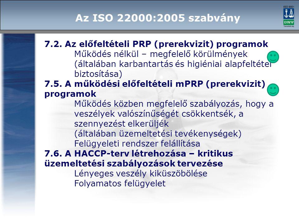 Az ISO 22000:2005 szabvány 7.2. Az előfeltételi PRP (prerekvizit) programok. Működés nélkül – megfelelő körülmények.