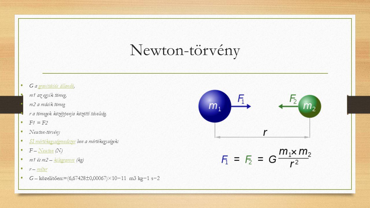 Newton-törvény G a gravitációs állandó, m1 az egyik tömeg,