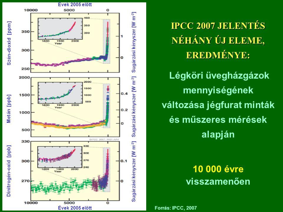 IPCC 2007 JELENTÉS NÉHÁNY ÚJ ELEME, EREDMÉNYE: