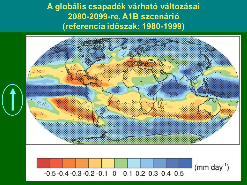A globális csapadék várható változásai (referencia időszak: 1980-1999)