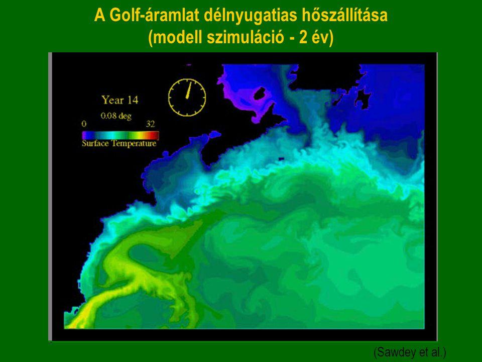 A Golf-áramlat délnyugatias hőszállítása (modell szimuláció - 2 év)