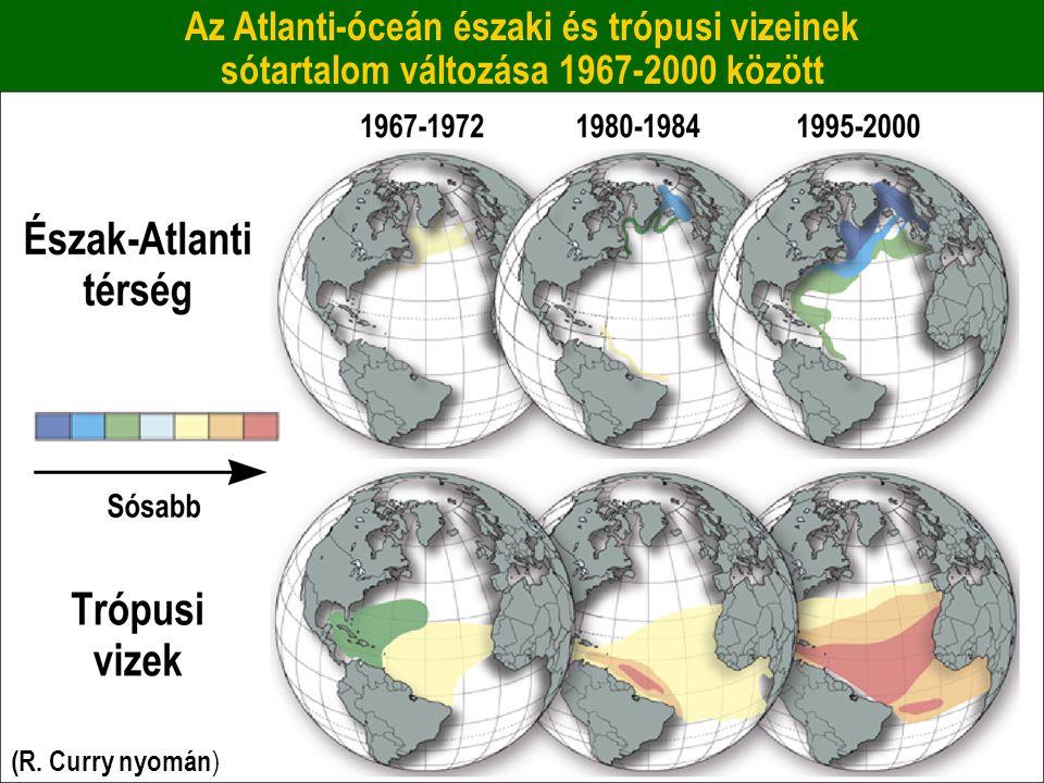 Az Atlanti-óceán északi és trópusi vizeinek sótartalom változása 1967-2000 között