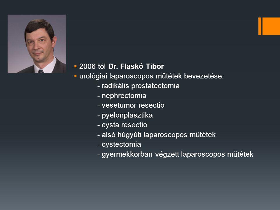 2006-tól Dr. Flaskó Tibor urológiai laparoscopos műtétek bevezetése: - radikális prostatectomia. - nephrectomia.