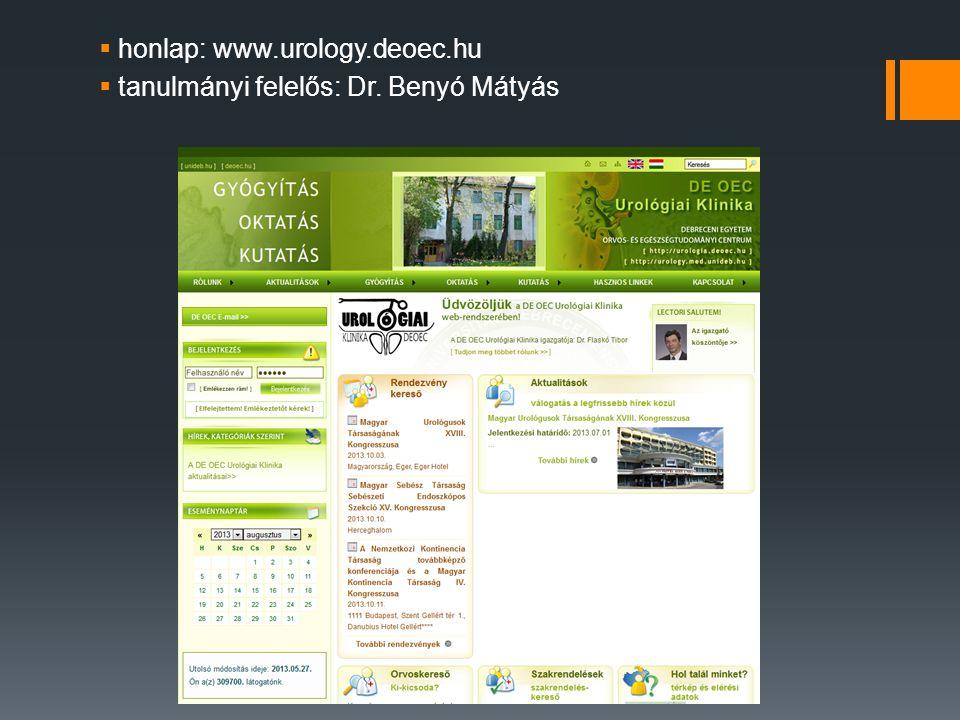 honlap: www.urology.deoec.hu