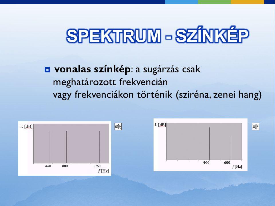 SPEKTRUM - SZÍNKÉP vonalas színkép: a sugárzás csak