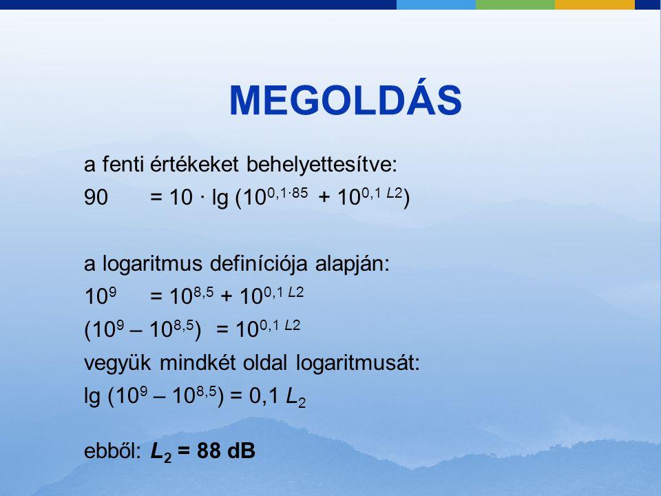 MEGOLDÁS a fenti értékeket behelyettesítve: