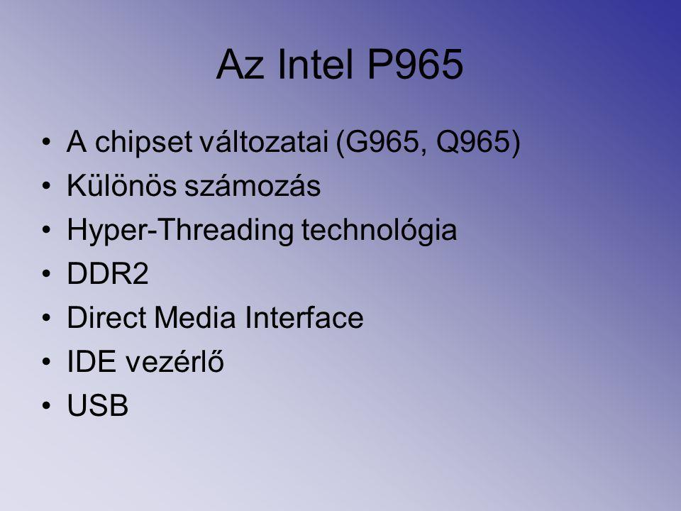 Az Intel P965 A chipset változatai (G965, Q965) Különös számozás