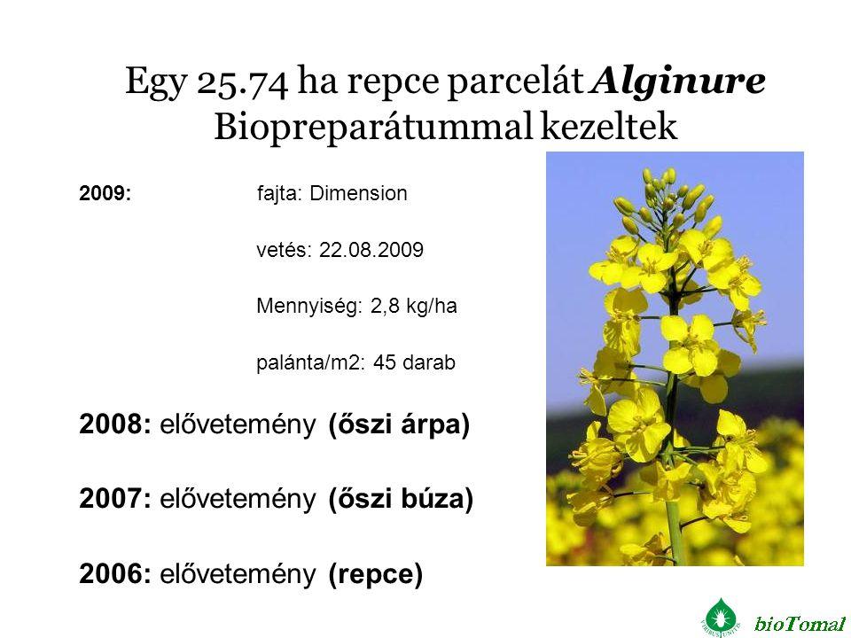Egy 25.74 ha repce parcelát Alginure Biopreparátummal kezeltek