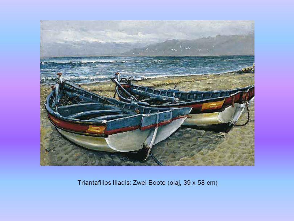 Triantafillos Iliadis: Zwei Boote (olaj, 39 x 58 cm)