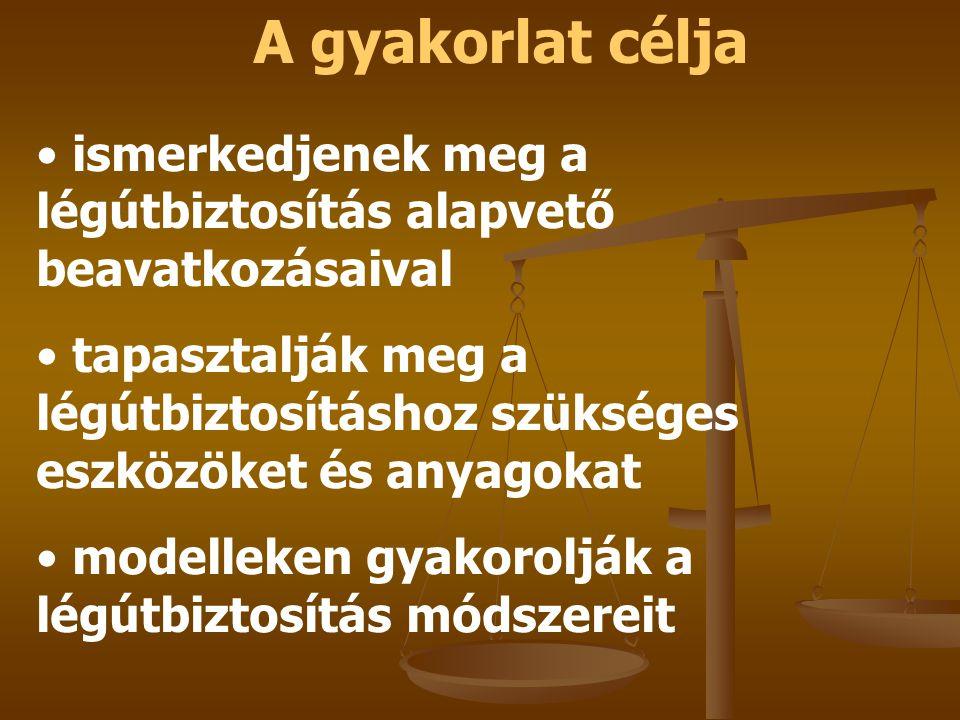 A gyakorlat célja ismerkedjenek meg a légútbiztosítás alapvető beavatkozásaival.