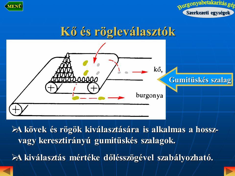 MENÜ Szerkezeti egységek. Kő és rögleválasztók. Gumitüskés szalag. A kövek és rögök kiválasztására is alkalmas a hossz-