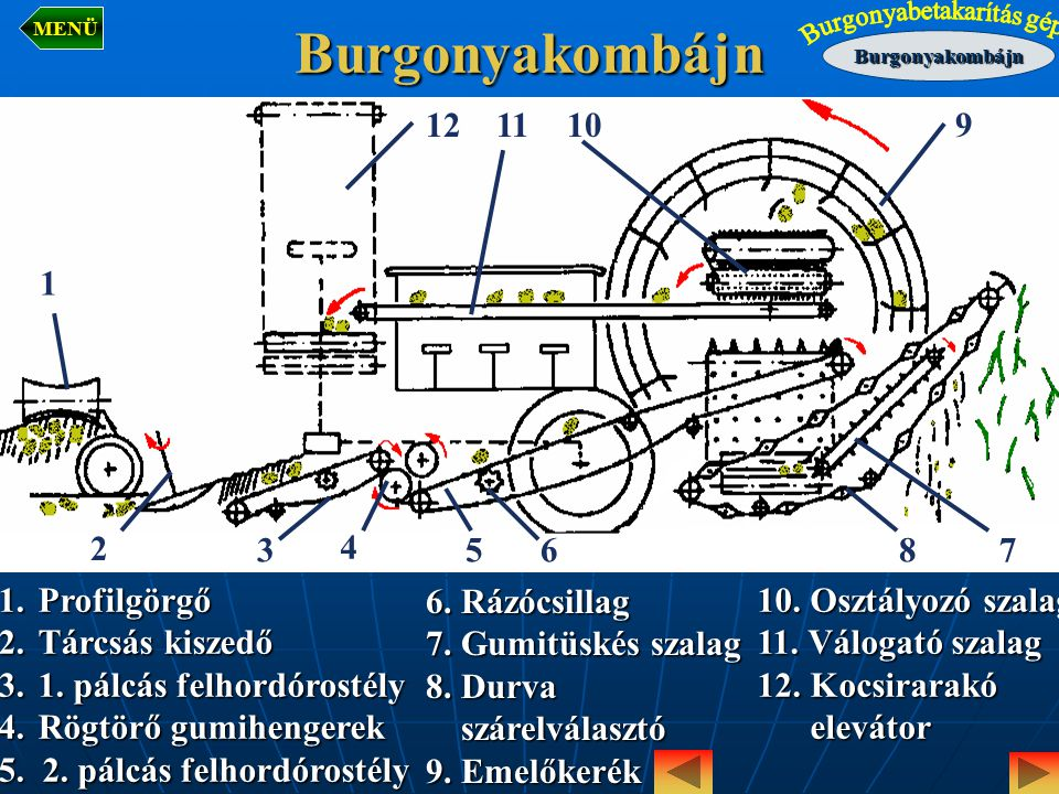Burgonyakombájn 12 11 10 9 1 2 3 4 5 6 8 7 Profilgörgő Tárcsás kiszedő