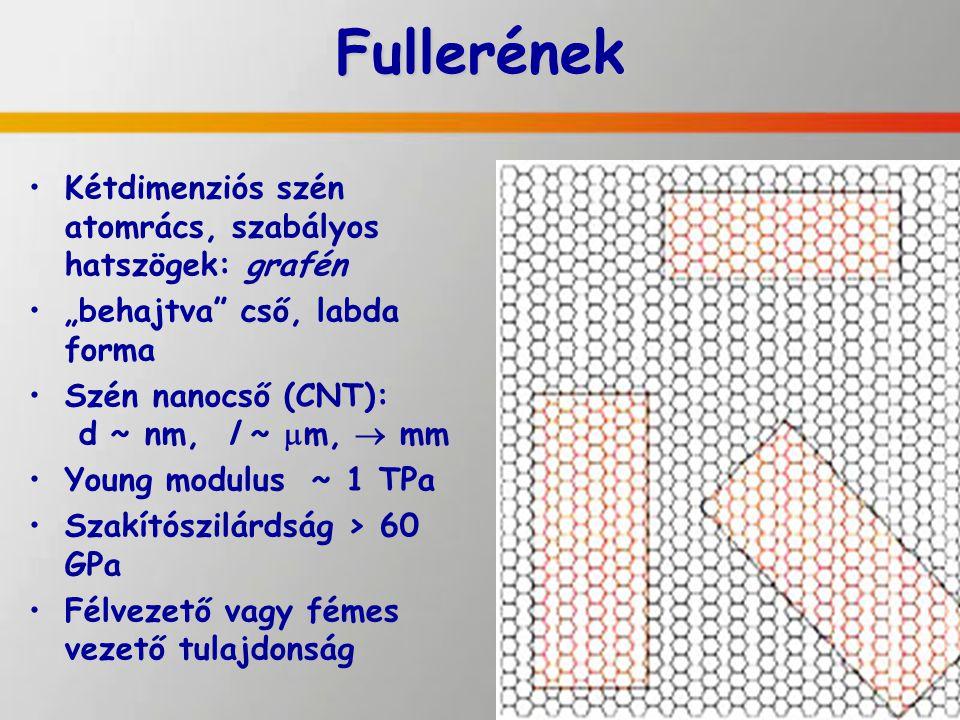 Fullerének Kétdimenziós szén atomrács, szabályos hatszögek: grafén