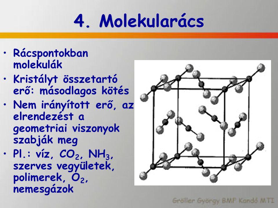 4. Molekularács Rácspontokban molekulák