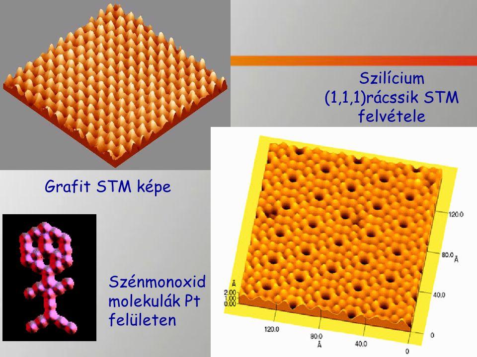 Szilícium (1,1,1)rácssik STM felvétele