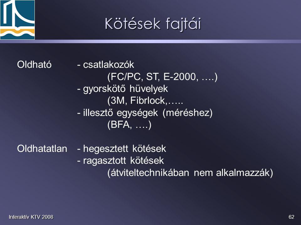 Kötések fajtái Oldható - csatlakozók (FC/PC, ST, E-2000, ….)