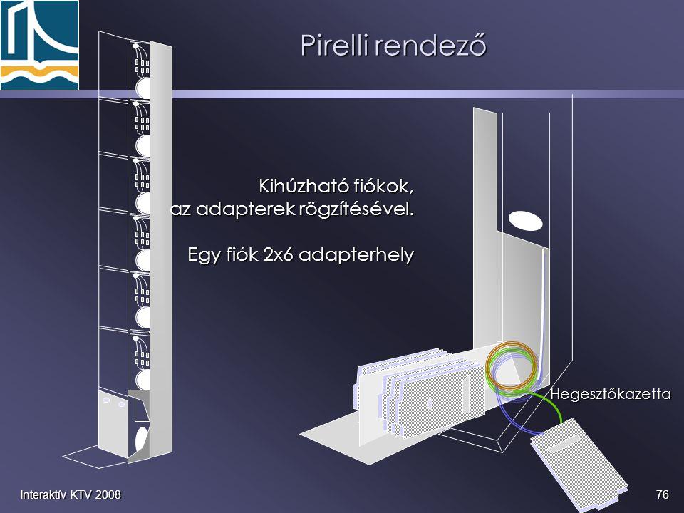 Pirelli rendező Kihúzható fiókok, az adapterek rögzítésével.
