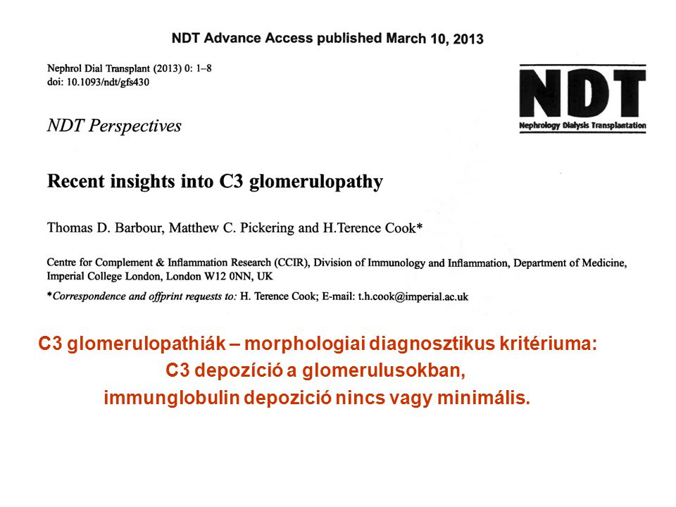 C3 glomerulopathiák – morphologiai diagnosztikus kritériuma: