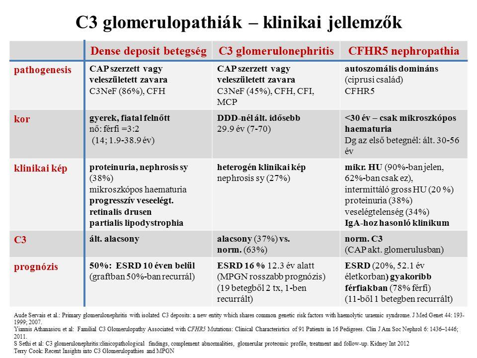 C3 glomerulopathiák – klinikai jellemzők Dense deposit betegség