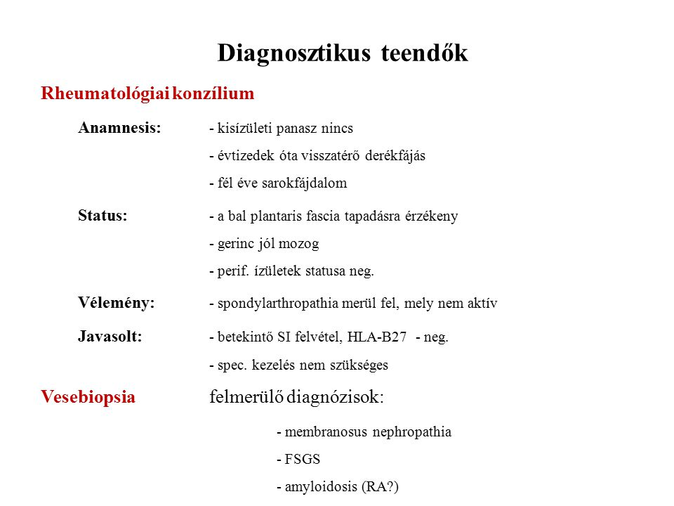 Diagnosztikus teendők