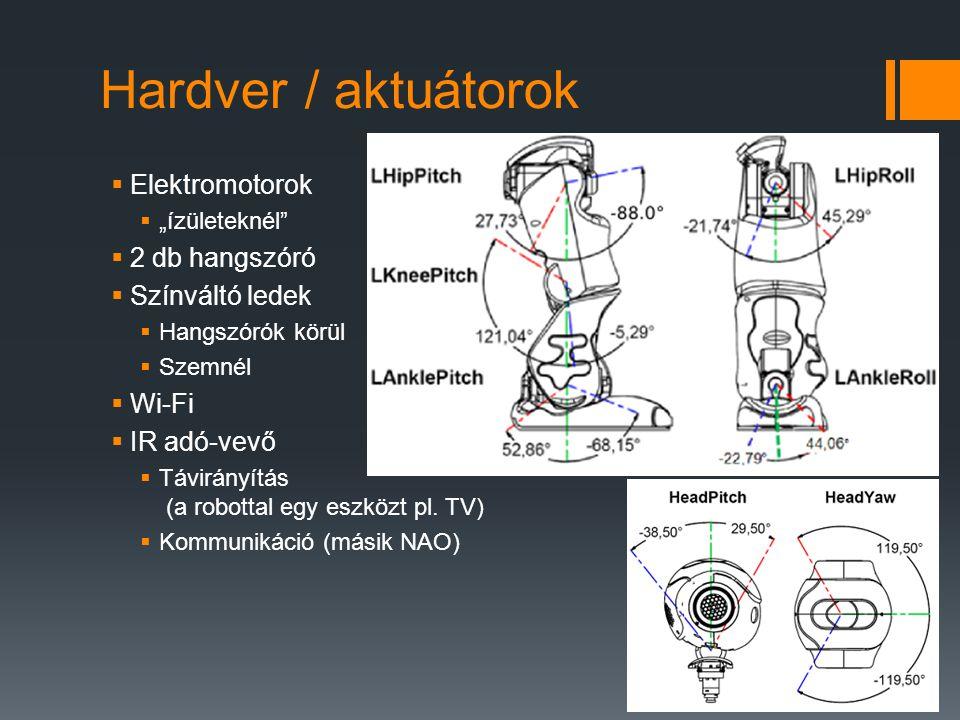 Hardver / aktuátorok Elektromotorok 2 db hangszóró Színváltó ledek