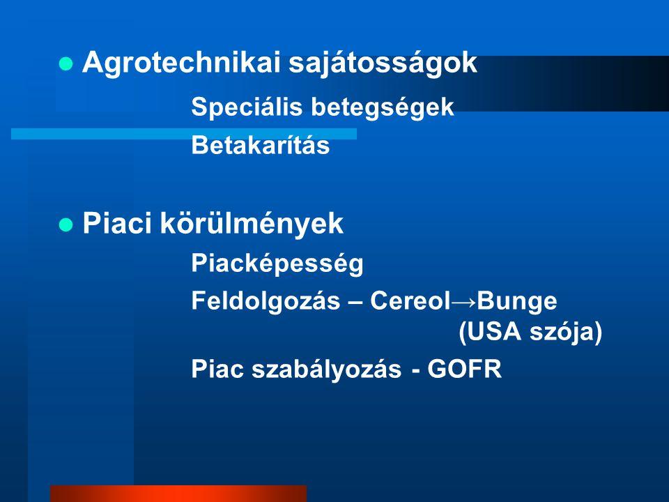 Agrotechnikai sajátosságok Speciális betegségek