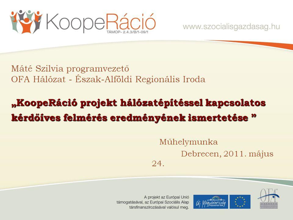 """Máté Szilvia programvezető OFA Hálózat - Észak-Alföldi Regionális Iroda """"KoopeRáció projekt hálózatépítéssel kapcsolatos kérdőíves felmérés eredményének ismertetése"""