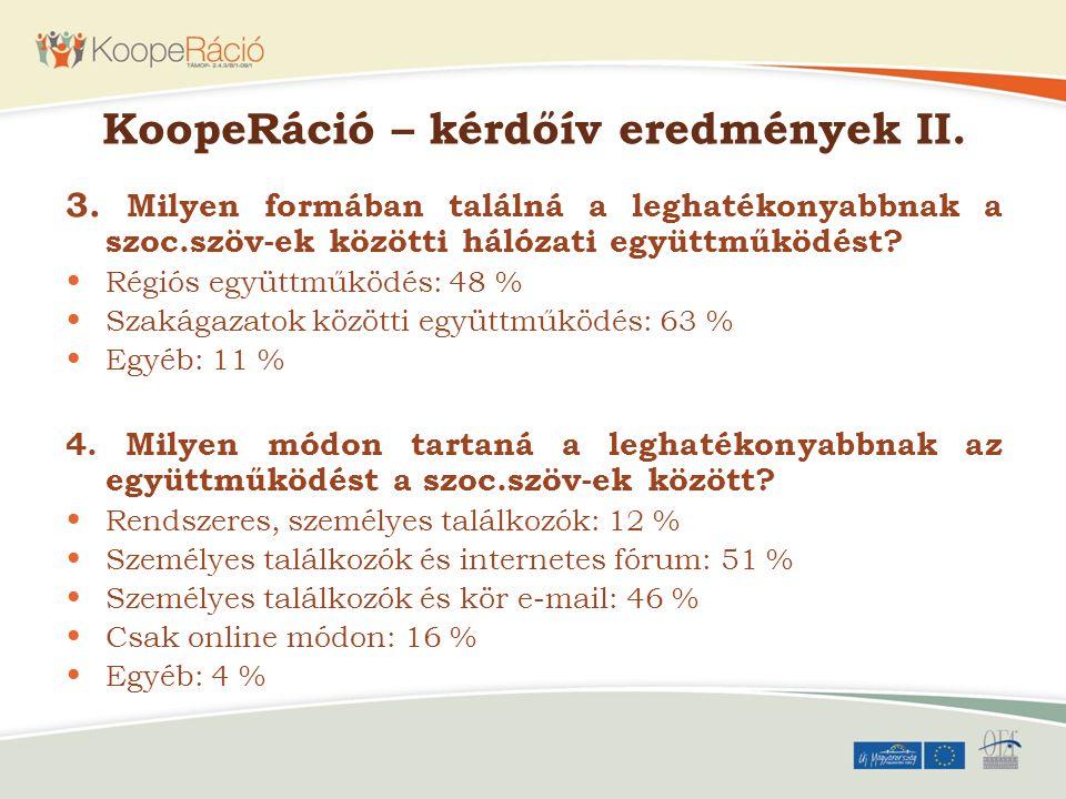 KoopeRáció – kérdőív eredmények II.