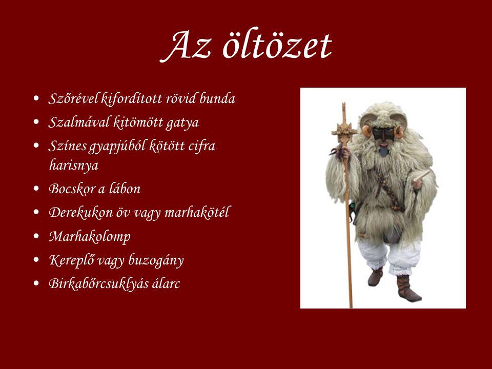 Az öltözet Szőrével kifordított rövid bunda Szalmával kitömött gatya
