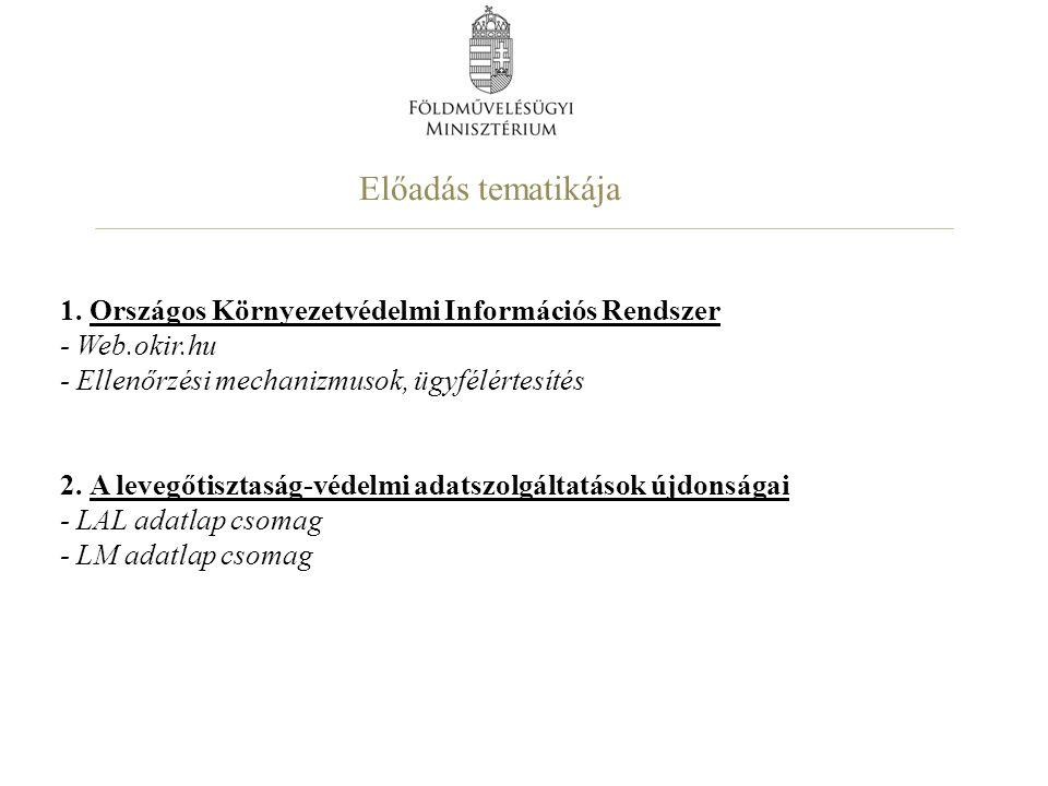 1. Országos Környezetvédelmi Információs Rendszer - Web. okir