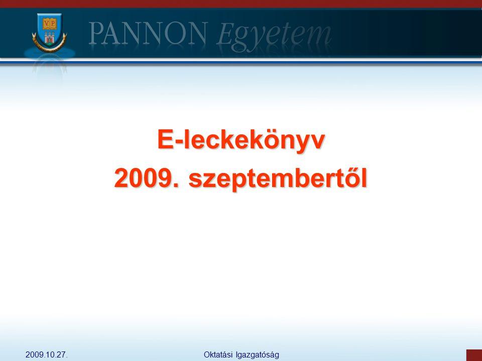 E-leckekönyv 2009. szeptembertől