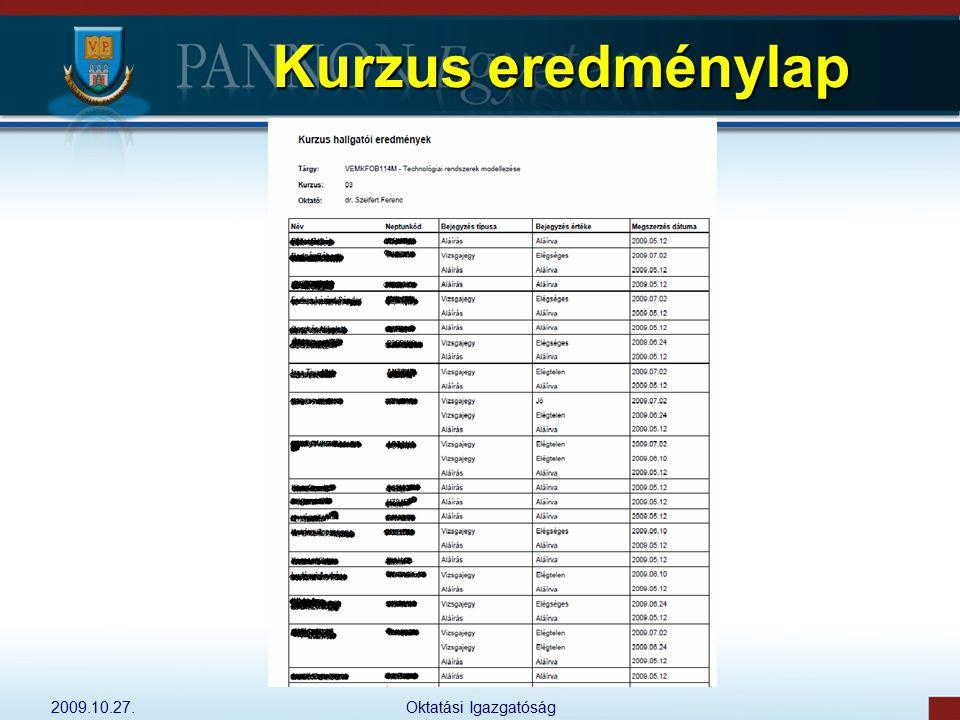 Kurzus eredménylap 2009.10.27. Oktatási Igazgatóság