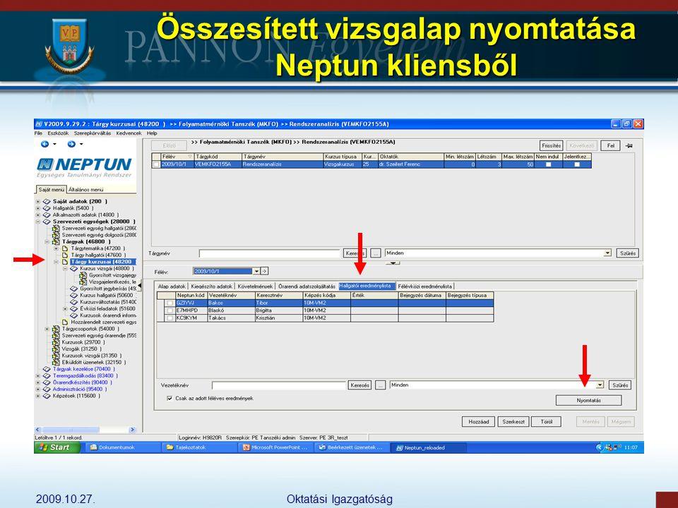 Összesített vizsgalap nyomtatása Neptun kliensből