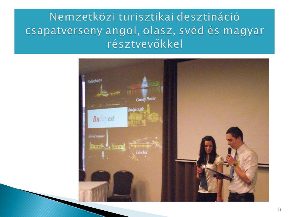 Nemzetközi turisztikai desztináció csapatverseny angol, olasz, svéd és magyar résztvevőkkel