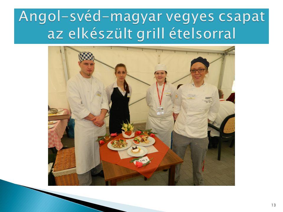 Angol-svéd-magyar vegyes csapat az elkészült grill ételsorral
