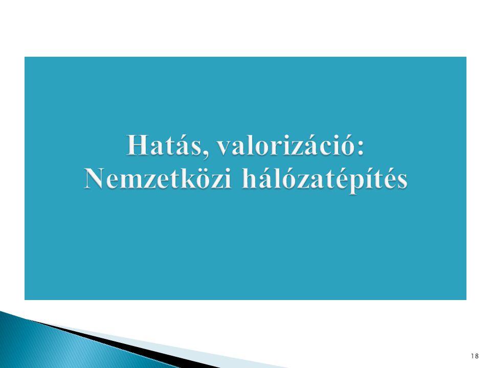 Hatás, valorizáció: Nemzetközi hálózatépítés